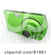 Royalty Free RF Clipart Illustration Of A Metallic Green Point And Shoot 3d Camera