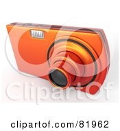 Royalty Free RF Clipart Illustration Of A Metallic Orange Point And Shoot 3d Camera