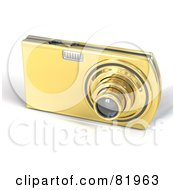 Royalty Free RF Clipart Illustration Of A Golden Point And Shoot 3d Camera