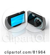 Royalty Free RF Clipart Illustration Of A Front And Rear Views Of A Black Point And Shoot Digital Camera