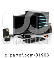 Royalty Free RF Clipart Illustration Of A 3d Desktop Computer Work Station