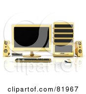 Royalty Free RF Clipart Illustration Of A 3d Gold Desktop Computer Work Station