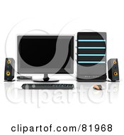 Royalty Free RF Clipart Illustration Of A 3d Black Blue And Orange Desktop Computer Work Station