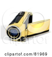 Royalty Free RF Clipart Illustration Of A Golden 3d Handy Video Camera With A Pop Out Screen
