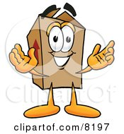 Clipart Picture Of A Cardboard Box Mascot Cartoon Character With Welcoming Open Arms
