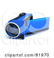 Royalty Free RF Clipart Illustration Of A Blue 3d Handy Video Camera With A Pop Out Screen