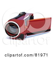 Royalty Free RF Clipart Illustration Of A Red 3d Handy Video Camera With A Pop Out Screen