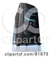Royalty Free RF Clipart Illustration Of A Black 3d Server Tower With Blue Lights by Tonis Pan