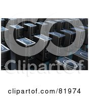 Royalty Free RF Clipart Illustration Of A Crowded Room Of 3d Black Computer Server Towers by Tonis Pan
