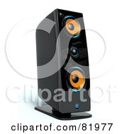 Royalty Free RF Clipart Illustration Of A 3d Black Orange And Blue Music Speaker by Tonis Pan