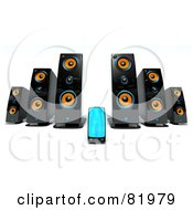 Royalty Free RF Clipart Illustration Of A 3d Mp3 Player With Big Speakers by Tonis Pan
