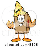 Clipart Picture Of A Cardboard Box Mascot Cartoon Character Wearing A Birthday Party Hat