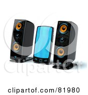 Royalty Free RF Clipart Illustration Of A 3d Mp3 Player Between Two Speakers by Tonis Pan