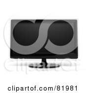 3d Modern Black Tv Or Computer Screen With Clear Edges