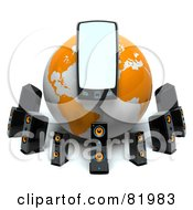 Royalty Free RF Clipart Illustration Of A White And Orange 3d Mp3 Player Globe Circled By Speakers by Tonis Pan