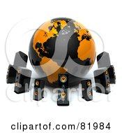 Royalty Free RF Clipart Illustration Of A Black And Orange 3d Globe Circled By Speakers by Tonis Pan