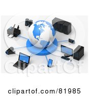 Royalty Free RF Clipart Illustration Of A 3d White And Blue Circled By A Printer Speakers Servers Computers Cameras Mp3 Players Laptops And Handy Cams by Tonis Pan