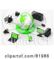 Royalty Free RF Clipart Illustration Of A 3d White And Green Circled By A Printer Speakers Servers Computers Cameras Mp3 Players Laptops And Handy Cams by Tonis Pan