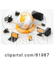 Royalty Free RF Clipart Illustration Of A 3d White And Orange Circled By A Printer Speakers Servers Computers Cameras Mp3 Players Laptops And Handy Cams