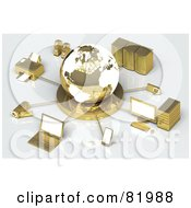 Royalty Free RF Clipart Illustration Of A 3d White And Gold Globe Circled By A Printer Speakers Servers Computers Cameras Mp3 Players Laptops And Handy Cams