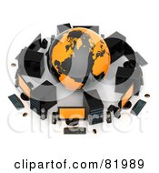 Royalty Free RF Clipart Illustration Of A 3d Orange And Black Globe Surrounded By Computers And Speakers by Tonis Pan