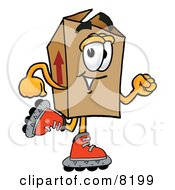 Clipart Picture Of A Cardboard Box Mascot Cartoon Character Roller Blading On Inline Skates