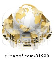 3d White And Gold Globe Circled By A Printer Speakers Servers Computers Cameras Mp3 Players Laptops And Handy Cams