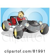 Royalty Free RF Clipart Illustration Of A Happy Man Driving A Black Buggy Sports Car