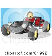 Royalty Free RF Clipart Illustration Of A Happy Guy Driving A Black Buggy Sports Car
