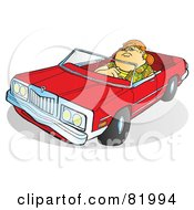 Royalty Free RF Clipart Illustration Of A Fat Boy Driving A Red Convertible Car by Snowy