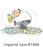 Chubby Businessman Standing In A Pile Of Crumpled Papers And Reading