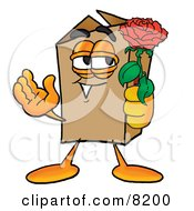 Clipart Picture Of A Cardboard Box Mascot Cartoon Character Holding A Red Rose On Valentines Day