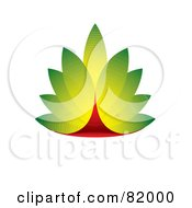 Royalty Free RF Clipart Illustration Of A Green And Red 3d Eco Leaf Design by michaeltravers