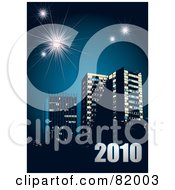 Royalty Free RF Clipart Illustration Of A New Year Background Of 2010 Over Urban Buildings On Blue With Fireworks by michaeltravers