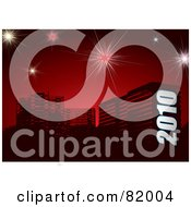 Royalty Free RF Clipart Illustration Of A New Year Background Of 2010 Over Urban Buildings On Red With Fireworks by michaeltravers