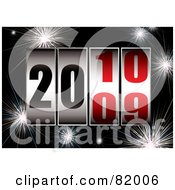 Royalty Free RF Clipart Illustration Of A New Year Background Of Dials Turning From 2009 To 2010 Over Black With Fireworks by michaeltravers
