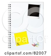 Royalty Free RF Clipart Illustration Of An Instant Polaroid Photo Picture On A Notepad With A Sticky Note And Paperclips by michaeltravers