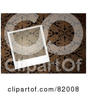 Royalty Free RF Clipart Illustration Of A Transparent Instant Polaroid Photo Picture Over A Brown Floral Pattern Background by michaeltravers
