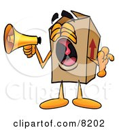 Clipart Picture Of A Cardboard Box Mascot Cartoon Character Screaming Into A Megaphone by Toons4Biz