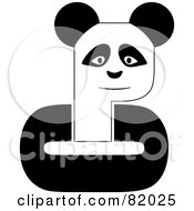 Royalty Free RF Clipart Illustration Of A Black And White P Panda With C Arms by michaeltravers