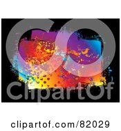 Royalty Free RF Clipart Illustration Of A Colorful Rainbow Splatter On Black by michaeltravers
