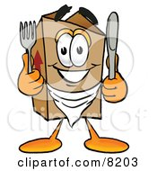 Clipart Picture Of A Cardboard Box Mascot Cartoon Character Holding A Knife And Fork