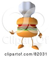 Royalty Free RF Clipart Illustration Of A 3d Cheeseburger Character Wearing A Chef Hat And Gesturing