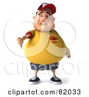 Royalty Free RF Clipart Illustration Of A 3d Unhappy Chubby Burger Man Holding His Thumb Down by Julos