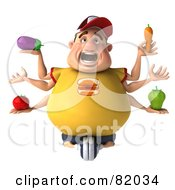 3d Chubby Burger Man With Six Arms Holding Healthy Food
