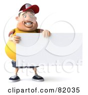 Royalty Free RF Clipart Illustration Of A 3d Chubby Burger Man Happily Holding A Sign by Julos