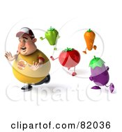 Royalty Free RF Clipart Illustration Of A 3d Chubby Burger Man Being Chased By Healthy Veggies by Julos