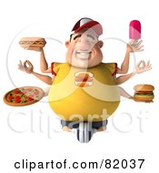 Royalty Free RF Clipart Illustration Of A 3d Chubby Burger Man With Six Arms Holding Unhealthy Food
