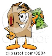 Clipart Picture Of A Cardboard Box Mascot Cartoon Character Holding A Dollar Bill by Toons4Biz
