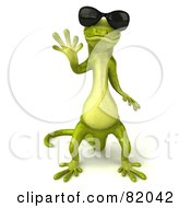 Royalty Free RF Clipart Illustration Of A 3d Pico Gecko Character Waving And Wearing Shades